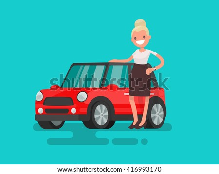 girl next to a small red car
