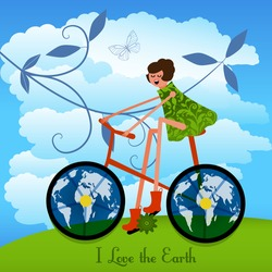 Girl on a bike with the Earth as wheels