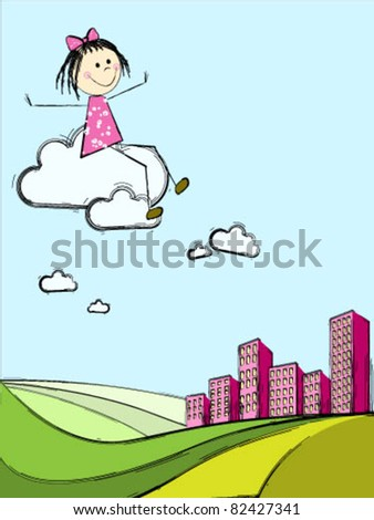 Girl on a cloud flying over the city