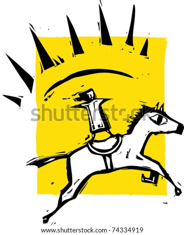 Girl on a leaping horse with rays coming from them - stock vector