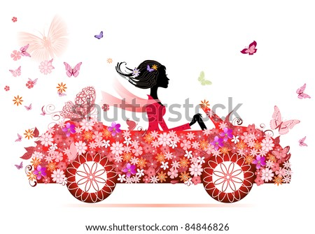 girl on a red flower car