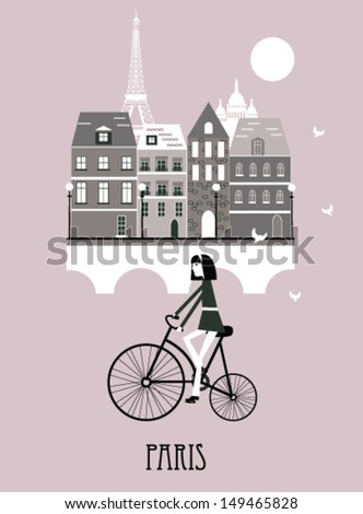 girl on a  retro bicycle in