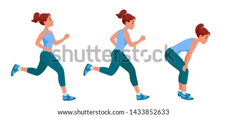 girl on a run, runs easily, with effort, is tired