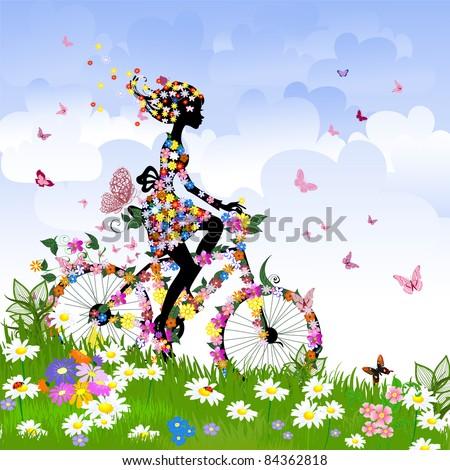 Girl on bike outdoors in summer - stock vector