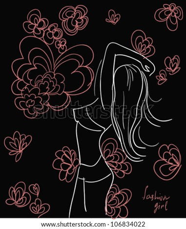 girl on flowers background, vector sketch.