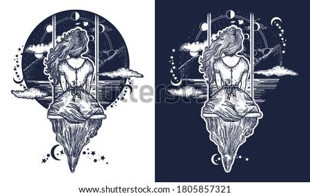girl on swing flies to sky