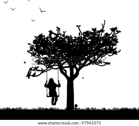 Girl on swing in park or garden in spring silhouette
