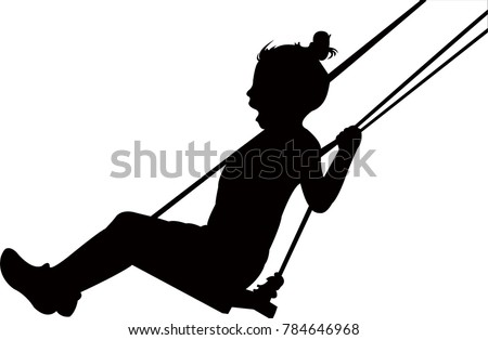 girl on swinging, silhouette vector