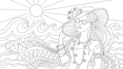 Girl on the beach, Vector illustration, Coloring page, beautiful young woman with Sunglasses and a Hat, at the Seacoast, Sea, watching waves, Coloring page