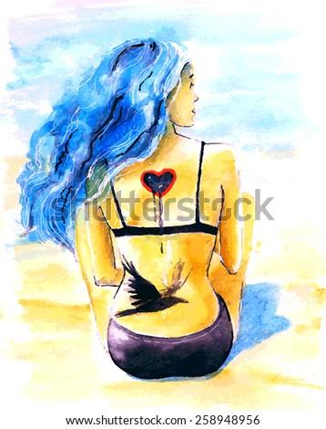 girl on the beach vector