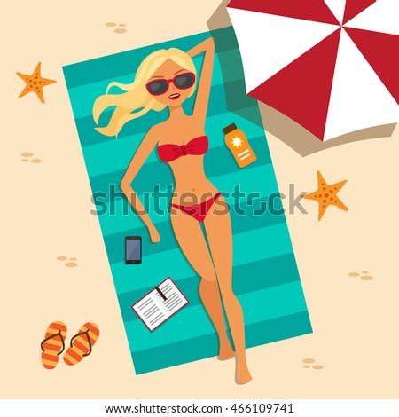 girl on the beach with a bikini