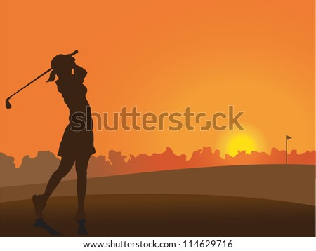 Girl on the golf course at sunset