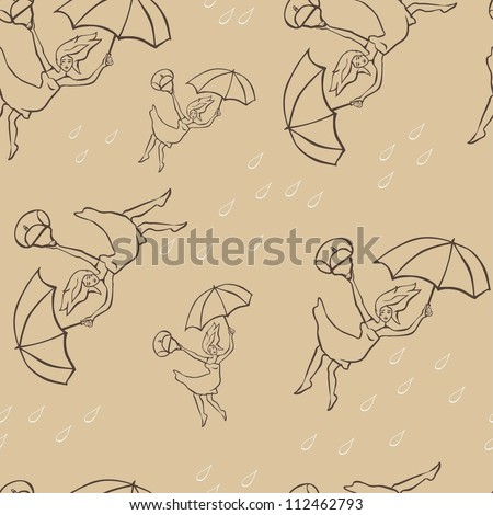 Girl on umbrella pattern