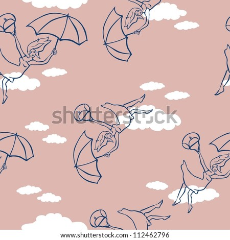 Girl on umbrella pattern