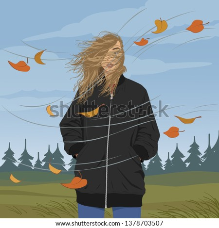 Girl on windy day