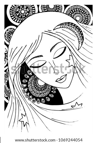 Stock Photo girl or a woman with a sunny ear, a crest of a month and stars. zentagle. vector. sketch