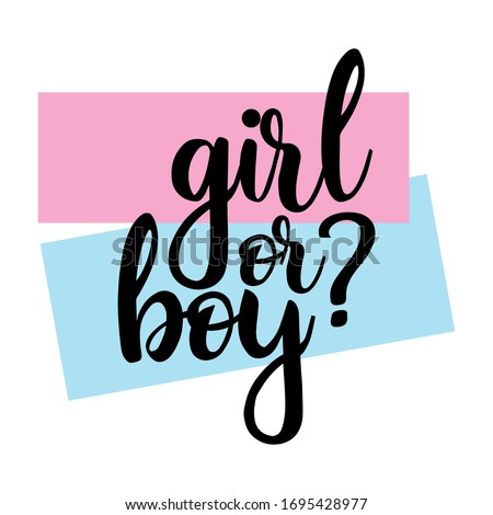 Girl or boy? Gender reveal party card, banner vector element  design Stockfoto ©