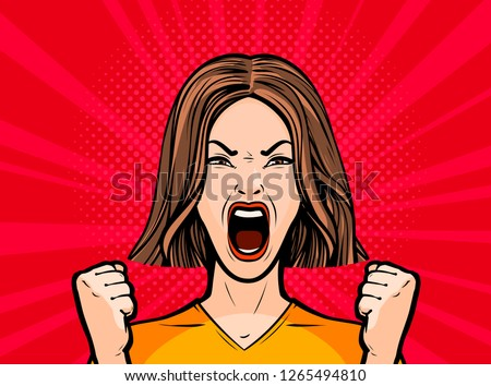 Girl or young woman screaming out loud. Pop art retro comic style. Cartoon vector illustration Stockfoto ©