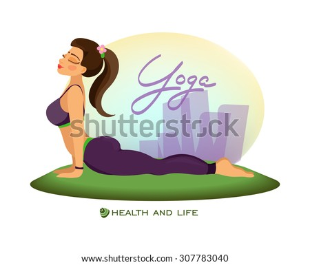 girl outdoors in cobra poseyoga classes stock vector