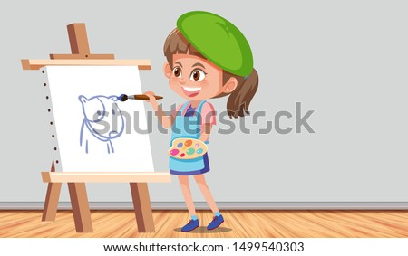 girl painting a picture in a