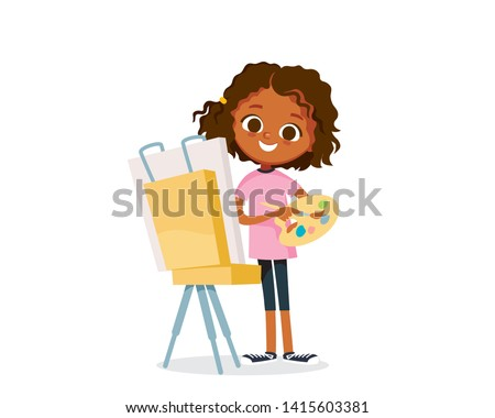 girl painting  draws a picture