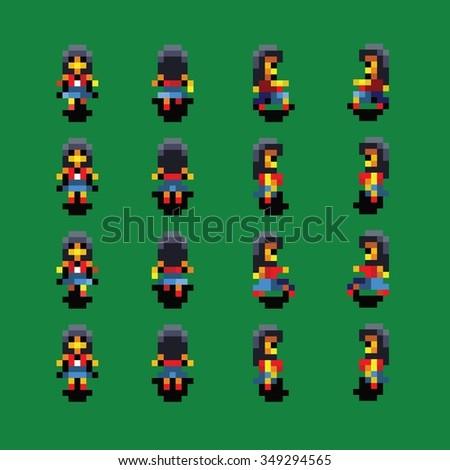 girl pixel art walk animation