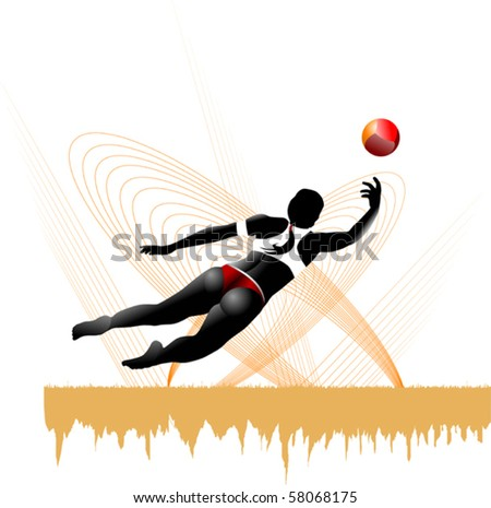 girl playing beach volleyball in yellow background (vector);