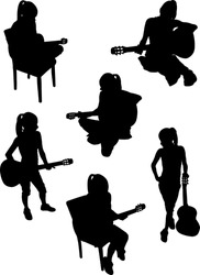 girl playing guitar collection - vector