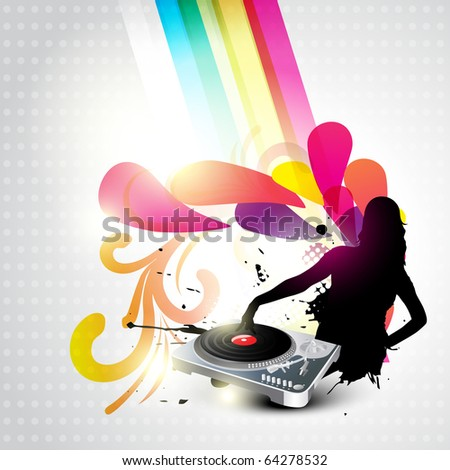 girl playing music dj turntable