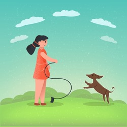 Girl plays with her dog in the park. Dachshund and girl. Dog without leash. Walking with your favorite pets. Vector stock illustration. Grunge textures. Cartoon characters. Flat. Copy space.