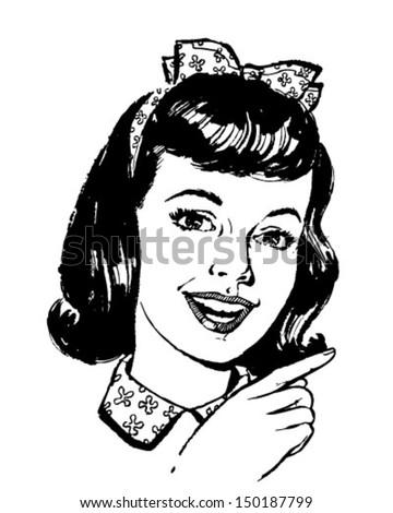 girl pointing   retro clip art...