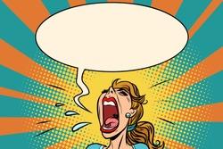 Girl pop art screams in panic. Comic book cartoon retro vector illustration drawing
