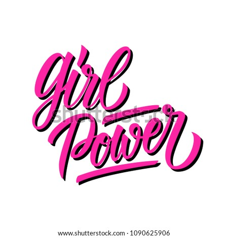 Girl Power calligraphic lettering text design. Feminism quote, woman motivational slogan. Vector illustration. #1090625906