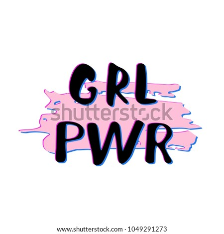 Girl Power composition. GRL PWR lettering with glitch effect. Vector illustration.