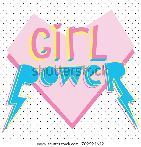 girl power cute card with