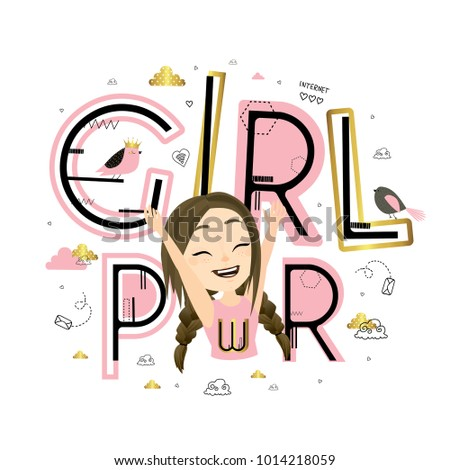 Girl power. Cute vector illustration with pretty beautiful girl and lettering. Card in scandinavian style.