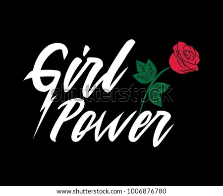 Girl Power, Embroidery Fashion Slogan Rose with Leaves wings Punk girl gang, Girl Gang patches, badges T-shirt apparels print tee graphic design. Vector sticker, pin, patch vintage rock style.