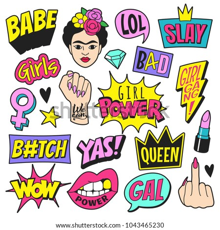 Girl power patches collection. Vector illustration of feminist symbols and slang words in trendy doodle style. Isolated on white.