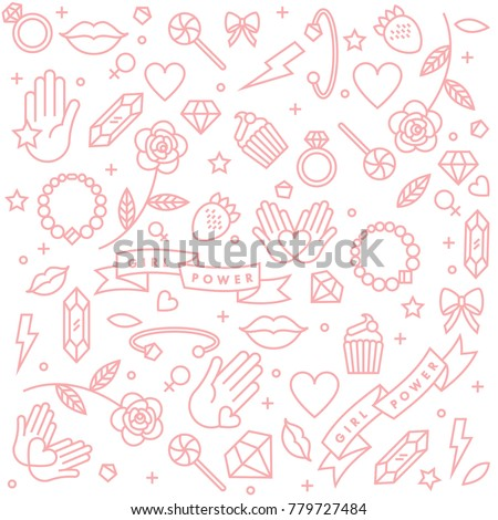 Girl power quote. Icon set fashion symbol  with star, diamond, lips and jewelry. Vector doodle illustration. Feminism slogan. Vector pattern
