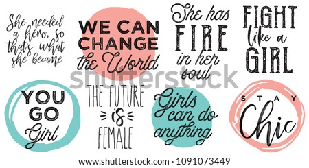 girl power sayings lettering set