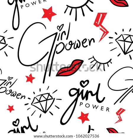Girl power / Seamless endless repeating fashion pattern texture design