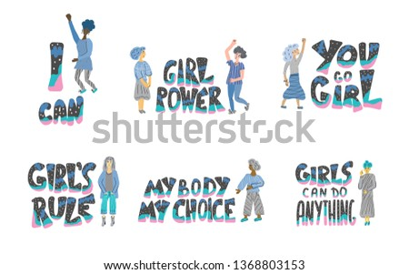 Girl power set of quotes with women characters isolated. GRL PWR hand lettering. Feminist slogans. You go girl, My body my choice, The future is female phrases. Vector illustration.