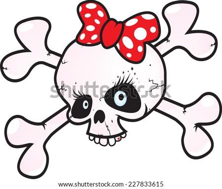 girl power skull vector