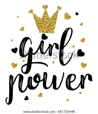girl power slogan with glitter crown vector.