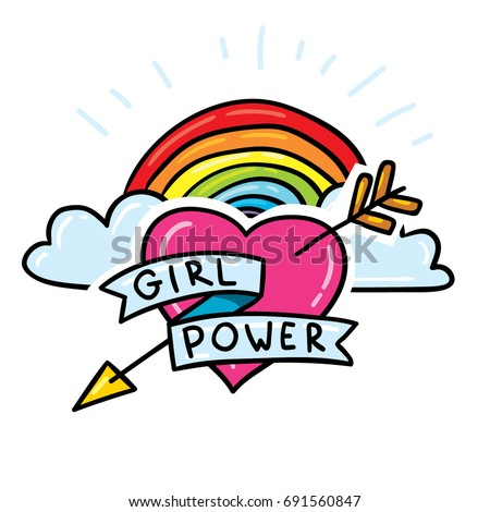Girl power sticker pin with rainbow and clouds. Fancy comic style feminism hand drawn patch design
