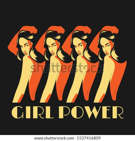 girl power vector hand drawn