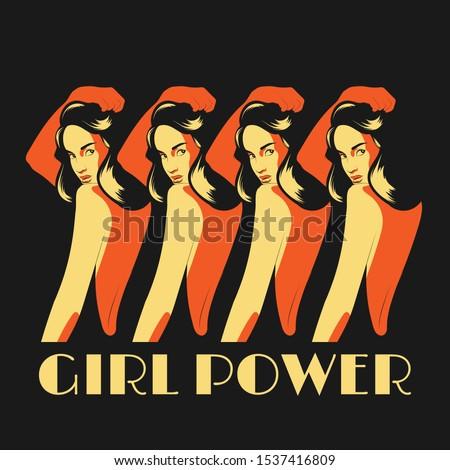 girl power vector hand drawn