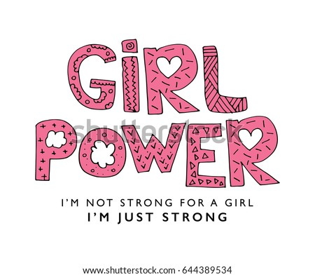 Girl Power Vector Print Design Pink