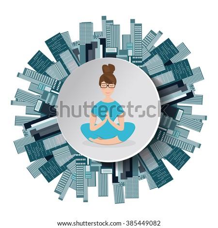 girl practicing yoga in digital