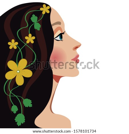 Girl profile flower on white background. Elegance, glamour, beauty symbol. Beauty woman face. Beautiful brunette with a floral wreath in her hair.